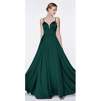 Floor Length A-Line Satin Gown Emerald Double Slit Sweetheart Neck