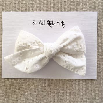 White Eyelet Tie Knot Hair Bow