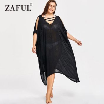 Women's Black Plus Size Bathing Suit Cover Up/Beach Dress.   Sizes XL to 5XL.   ***FREE SHIPPING***