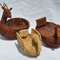 Woodland Basket Collection Vintage Animals Wicker Storage Two Ducks and A Deer Folk Art Boho