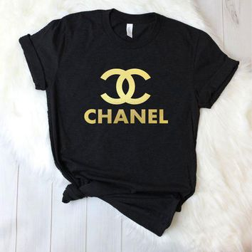 Chanel Fashion Loose type pullovers Tee Women Shirt Top B-A