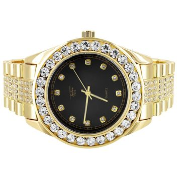 Men's Gold with Black Face Solitaire Presidential Look Watch