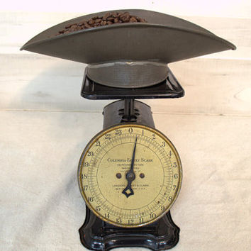 Antique Black Columbia Family Kitchen Scale,  Vintage  Kitchen Scale with Measuring Bowl,  Photo Props