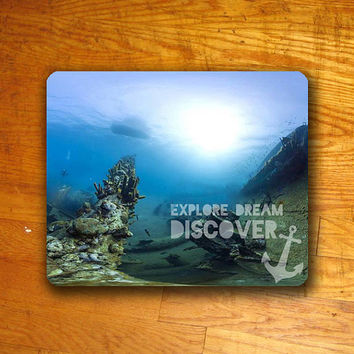 Explore Dream Discover Quote Mouse PAD Customized Art Mousepad by Xongdesign