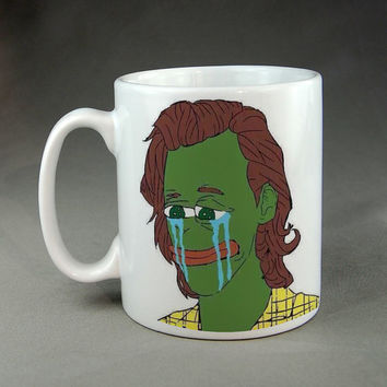 Rare Harry Styles Pepe Sad Frog Ceramic Mug Funny Picture Meme