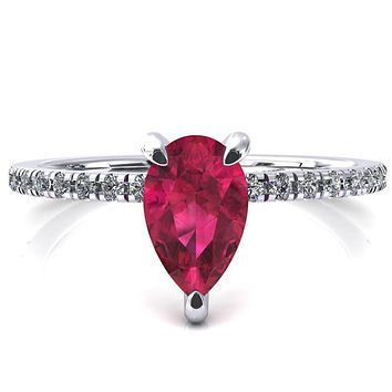 Ezili Pear Ruby 3 Claw Prong Micro Pave Diamond Sides Engagement Ring