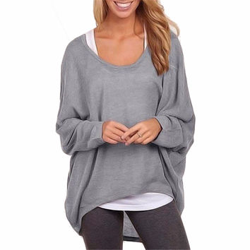 Lisli Spring Oversized T Shirts Baggy Women Long Sleeve Tops Tee Casual Women Clothing Loose Jumper Bat Pullover T-shirt 01B0500