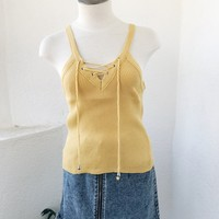 MANDY TIE FRONT KNIT- MUSTARD