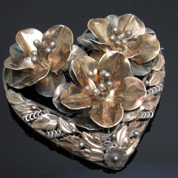 Vintage Sterling Heart Brooch Dimensional Flower Hobe Jewelry H7592