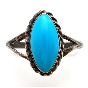 Turquoise Sterling Silver Ring Size 5 Vintage