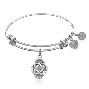 Expandable Bangle in White Tone Brass with Celtic Oval Symbol