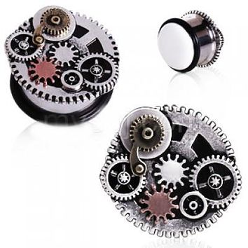 316L Surgical Steel Steampunk Gear Menagerie Plug