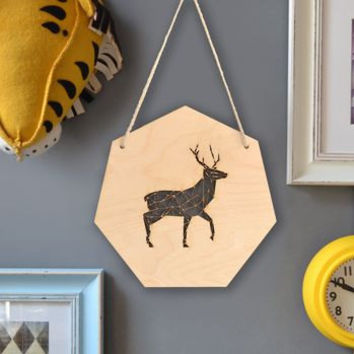 Geometric Stag Artwork - Wall Art - Deer Art - Home Decor - Gift for Toddlers - Woodland Nursery - Woodland Decor - Stag Wall Hanging - Gift
