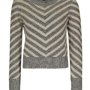 Women's Metallic Striped Sweater in Cream/Khaki by Daytrip.