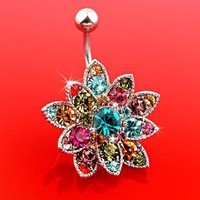 Genuine Swarovski Crystals Set Flower Hinged Barbell Dangle Belly Button Ring Navel Body Jewelry 14 Gauge B106 * Free USA Shipping *