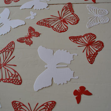 3D Butterflies made of textured card stock in Red and White --- Let them fly around in your nursery or dress up your party