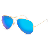 Ray-Ban Aviator Large Metal Sunglasses Matte Gold/Crystal Blue Mirror One Size For Men 23082962101