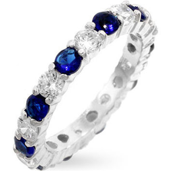 Sterling Silver and Clear and Sapphire CZ Eternity Ring