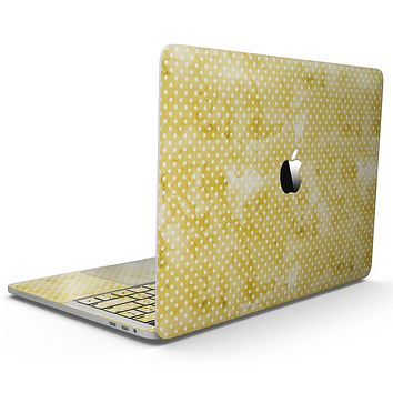 White Polka Dots over Yellow Watercolor V2 - MacBook Pro with Touch Bar Skin Kit