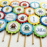 Robot Cupcake Toppers, Personalized for Birthday or Baby Shower