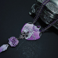 Flower pendant Purple and white flower necklace Handmade jewelry Polymer clay purple silver peony pendant Symbol of wealth and riches