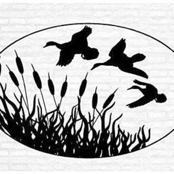 Duck Hunting Geese Cattails Marsh Man Cave Animal Rustic Cabin Lodge Mountains Hunting Vinyl Wall Art Sticker Decal Graphic Home Decor