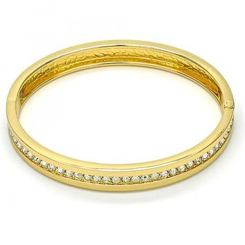Gold Tone 07.252.0019.05.GT Individual Bangle, with White Crystal, Polished Finish, Golden Tone (08 MM Thickness, Size 5 - 2.50 Diameter)