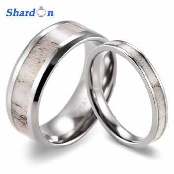 SHARDON new Couples Wild Antler Wedding Band Set Koa Wood & Wild Antler Titanium Rings(2pcs) Fashion lovers rings Jewelry