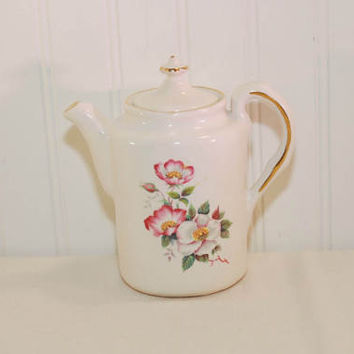 Vintage Wild Briar Rose Pattern House of Webster Teapot (c. pre-1998) Vintage Teapot, Cottage Roses, Collectible, Gold Trim, Gift Idea