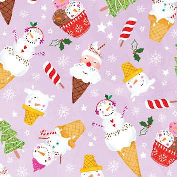 Bulk Ream Roll Christmas Gift Wrap Wrapping Paper, Ice Cream