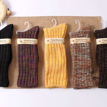 colorful cotton yarn thickened knitted Socks