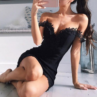 Women Off Shoulder Lace Dress Sexy Bodycon Strappy V Neck Evening Party Dress SM6