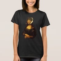 Mona Lisa With Bandaged Ear Van Gogh Hat And Pipe T-Shirt