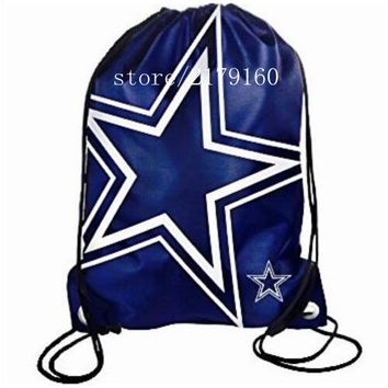 35*45 cm new design knitted polyester Dallas Cowboys drawstring backpack with Black rope Metal Grommets flag bag