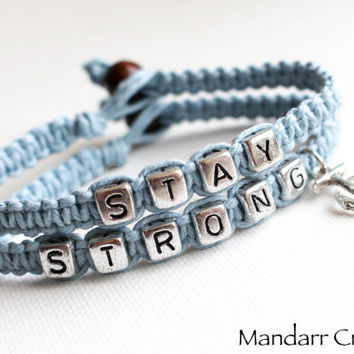 Light Blue Stay Strong Anchor Charm Bracelets, Nautical Theme Recovery Jewelry, Gift for Her, Awareness Bracelet, Set of Two