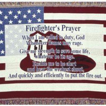 "Throw Blanket -  "" Firefighter's Prayer"