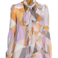 EMILIO PUCCI  Bow Signature Patterned pussy bow blouse - Sale