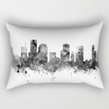 Houston Skyline Black and White Rectangular Pillow by monnprint