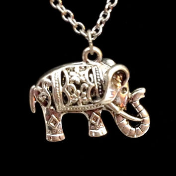 Silver swarovski crystal tibetan Elephant necklace