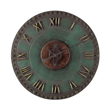 Metal Roman Numeral Outdoor Wall Clock. Marilia Verde With Gold
