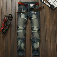 Men Slim Ruffle Patchwork Jeans [9892502531]