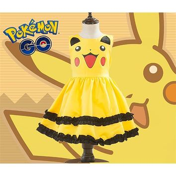 Pikachu Girls Cute Ball Gown Dress Kids Lovely Dress Anime Cosplay  Go Costumes With Bowknot Birthday Gift Party DressKawaii Pokemon go  AT_89_9