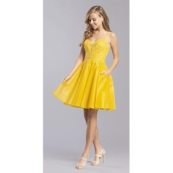 Homecoming Short Dress Cut-Out Back with Pockets Marigold