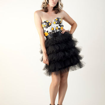 The Chloe Five Layered Black Tulle Knee Length Tutu Skirt with Satin Sash Made to Measure