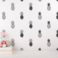 Modern Vinyl Pineapple Wall Decal Home Tropical Decor, Unique Gold Pineapple Decal For Kids Nursery Room Cute Wall Sticker Mural