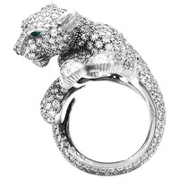 "Platinum Cartier Ring, ""Féline"" Collection, Diamonds, Emeralds and Onyx"
