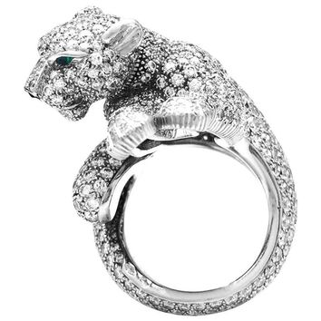 """Platinum Cartier Ring, """"Féline"""" Collection, Diamonds, Emeralds and Onyx"""