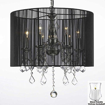 "Crystal Chandelier Chandeliers With Large Black Shade and VOTIVE CANDLES! H 19.5"" x W 18.5"" - For Indoor / Outdoor Use! Great for Outdoor Events, Hang from Trees / Gazebo / Pergola / Porch/Patio/Tent! - F7-B31/1124/6"