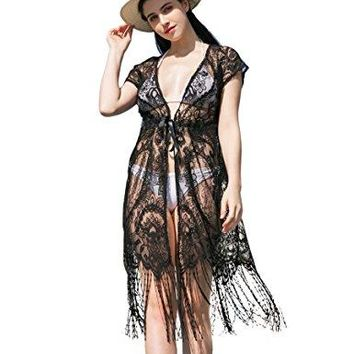 Womens Lace Floral Cover Up  Summer Sexy Long Maxi Beach Wear Bathing Suit Swimsuit for Bikini Soul Young