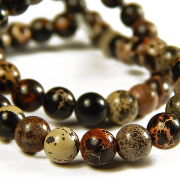 7-1/2 Inch Strand - 6mm Round Brown Sea Sediment Japser Beads - Gemstone Beads - Jewelry Supplies